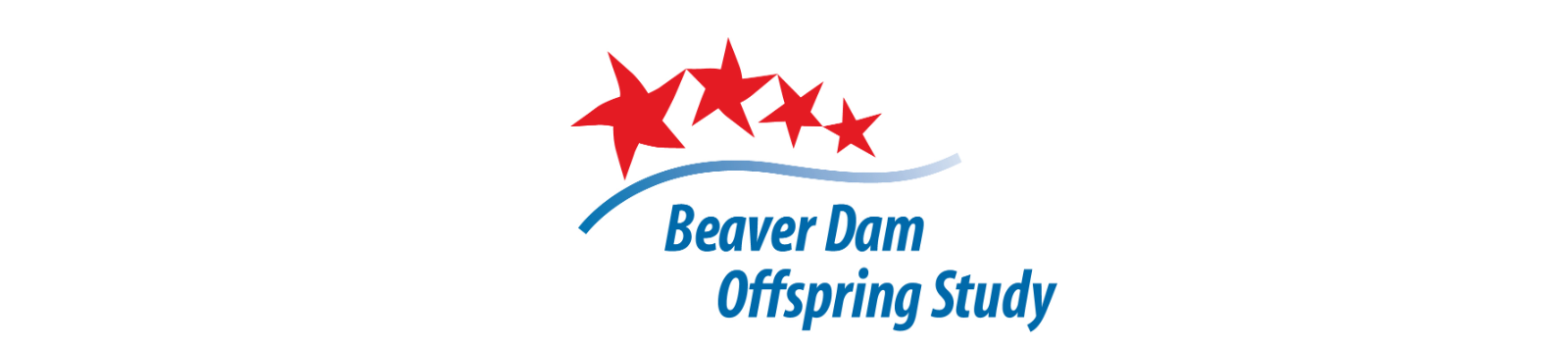 Beaver Dam Offspring Study Logo- four stars on top getting smaller separated from Beaver Dam Offspring Study text by blue line